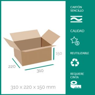 cajas de cartón para mudanzas 310x220x150 mm